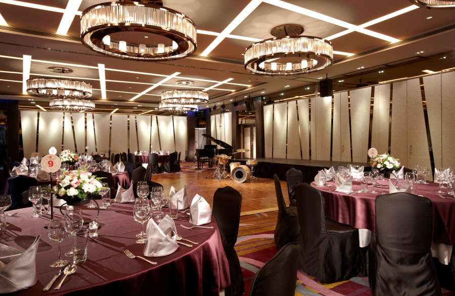 California Room prepared for a dinner and dance event